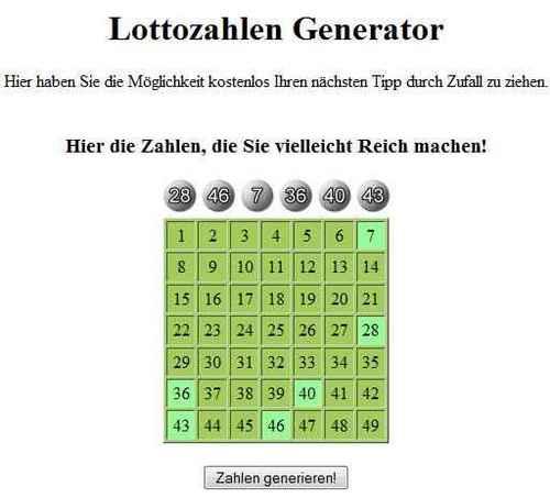 Lotto GlГјckszahlen Generator