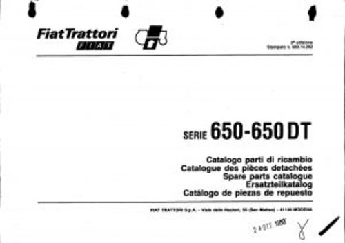 Pay for Fiat 650-650DT Service Parts Catalog Tractor Manual PDF