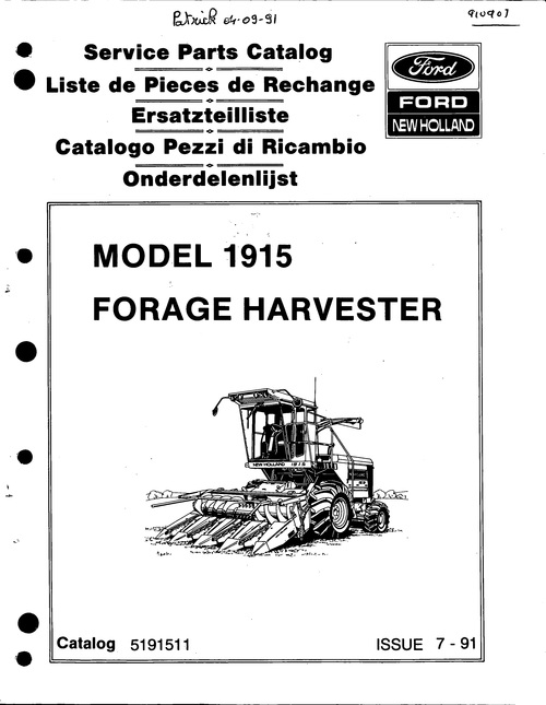 pay for ford new holland 1915 forage harvester service parts catalog