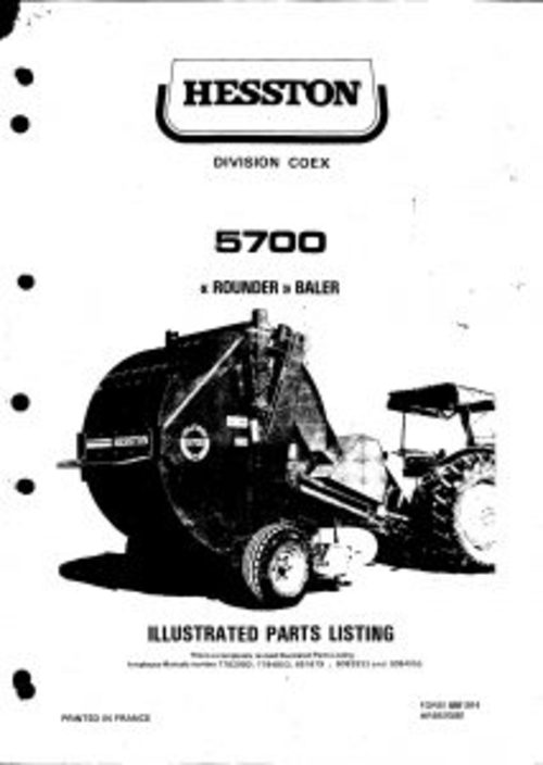 pay for hesston 5700 round baler service parts catalog pdf
