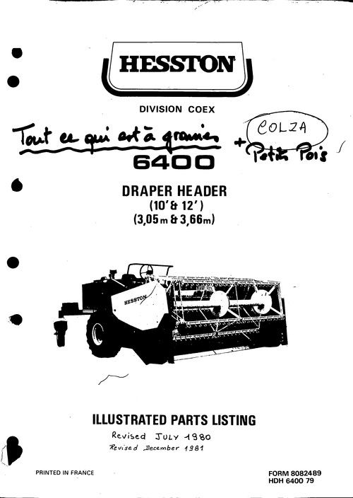 Pay for Hesston 6400 Draper header Service Parts Catalog PDF Tractor