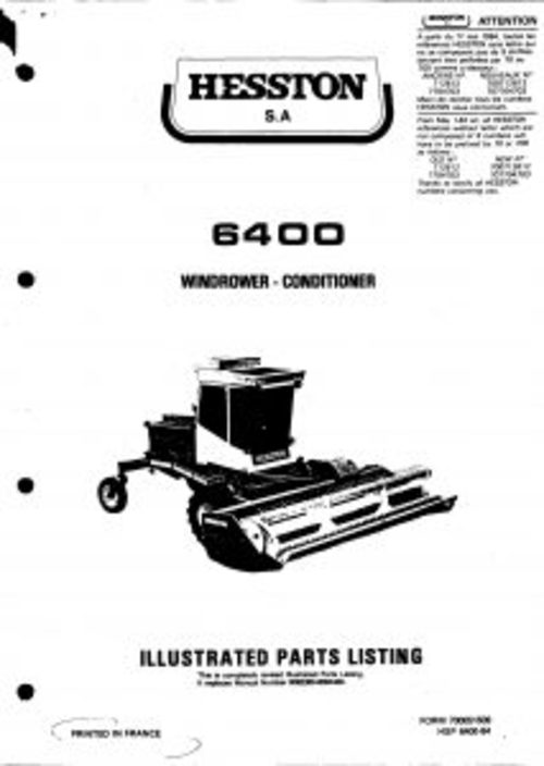 Pay for Hesston 6400 Windrower-Conditioner Service Parts Catalog PDF