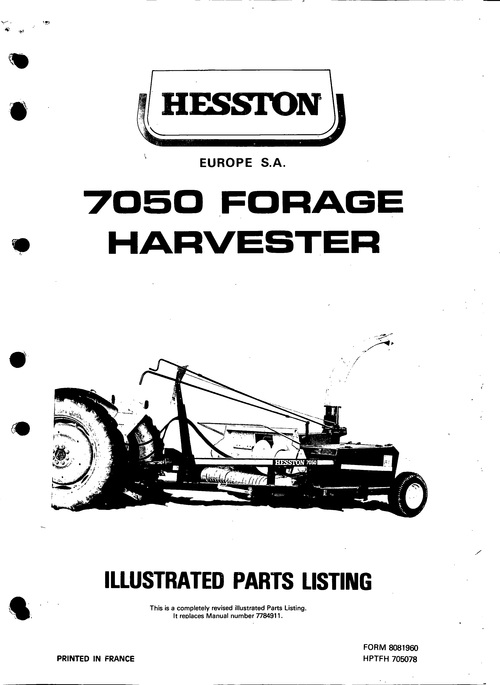 Pay for Hesston 7050 Forage Harvester Service Parts Catalog PDF