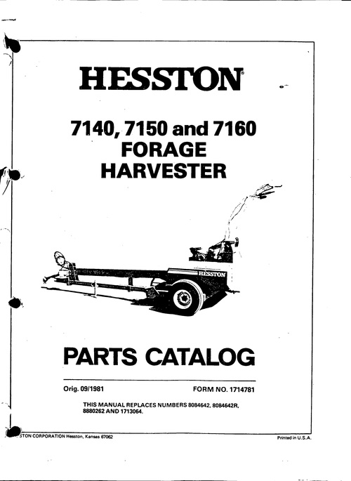 Pay for Hesston 7140 7150 7160 Forage Harvester Service Parts Catalo