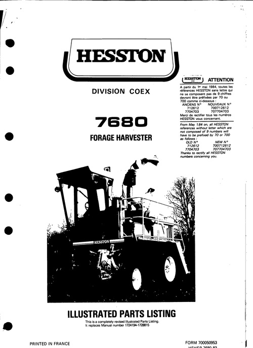 Pay for Hesston 7680 Forage Harvester Service Parts Catalog PDF