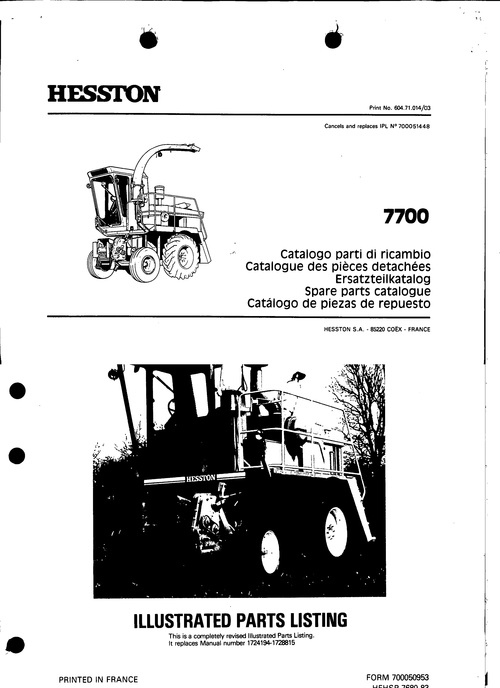Pay for Hesston 7700 Service Parts Catalog PDF Tractor