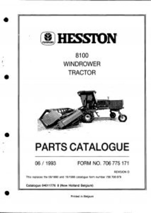 Pay for Hesston 8100 Windrower Tractor Service Parts Catalog PDF