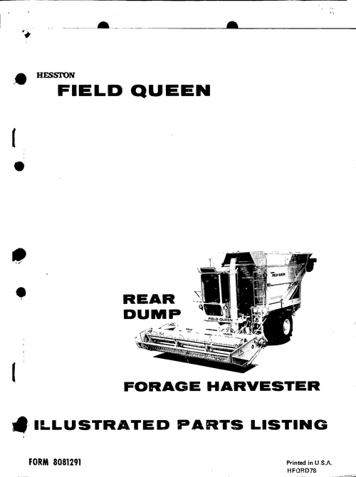Pay for Hesston Field Queen Rear Dump Service Parts Catalog PDF