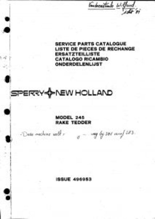 Pay for New Holland 245 Rake Tedder Service Parts Catalog PDF