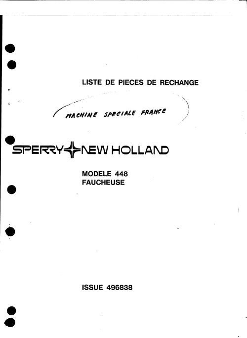 New Holland 448 Faucheuse Service Parts Catalog PDF Tractor on