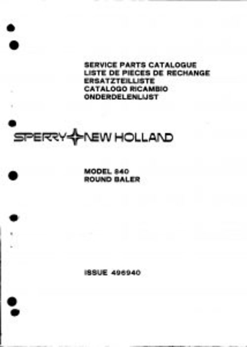 Pay for New Holland 840 Round Baler Service Parts Catalog PDF