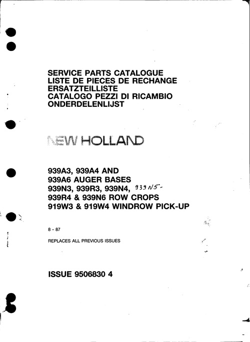 Pay for New Holland 939A3 939A4 939A6 Service Parts Catalog PDF