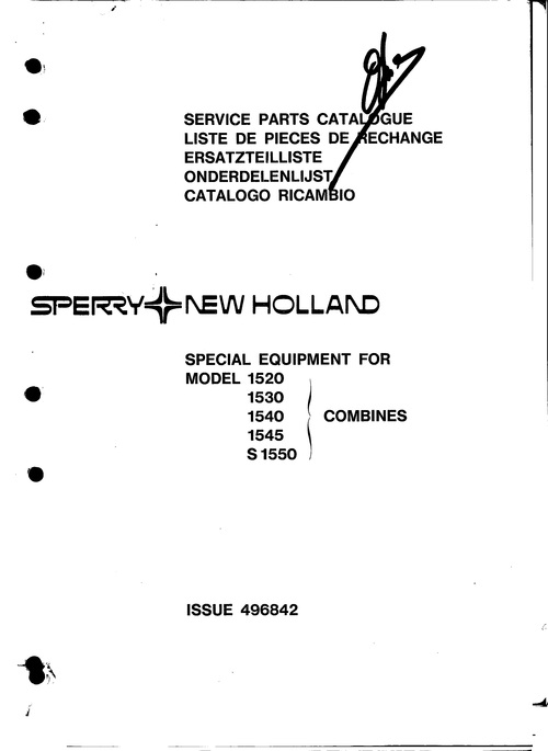 Pay for New Holland 1520 1530 1540 1545 S1550 Service Parts Catalog