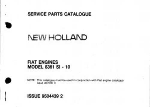 Pay for New Holland 8361 SI-10 Service Parts Catalog Tractor PDF