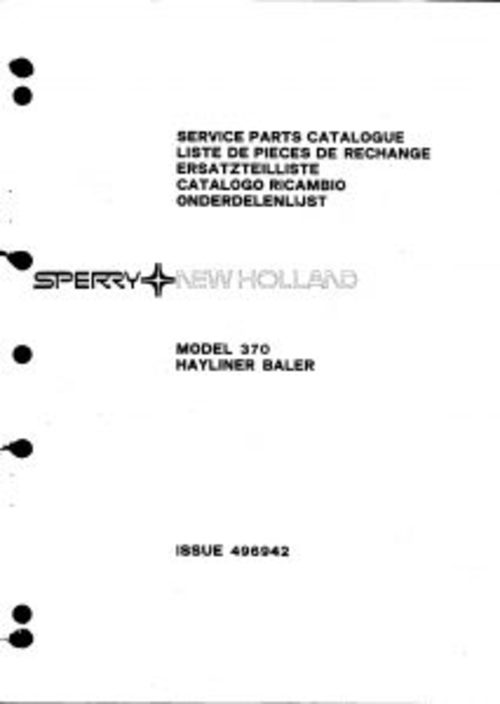Pay for New Holland Hayliner 370 Service Parts Catalog PDF Tractor