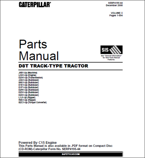 Pay for Caterpillar D8T Parts Manual for Crawler Tractor 1230 pages