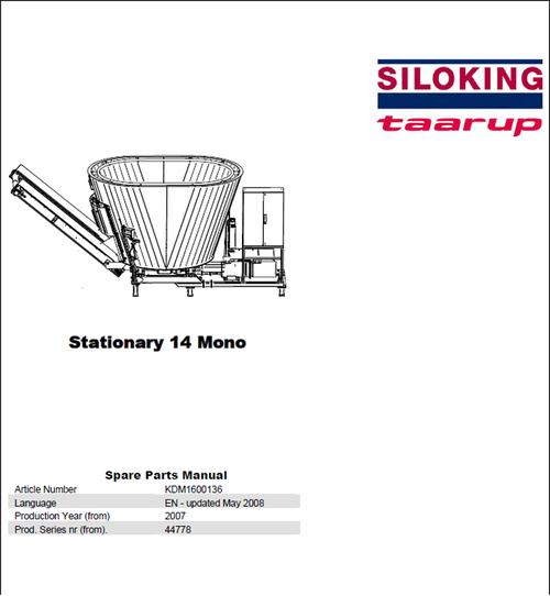 Pay for Taarup Stationary 14 Spare Parts Manual for Feeding