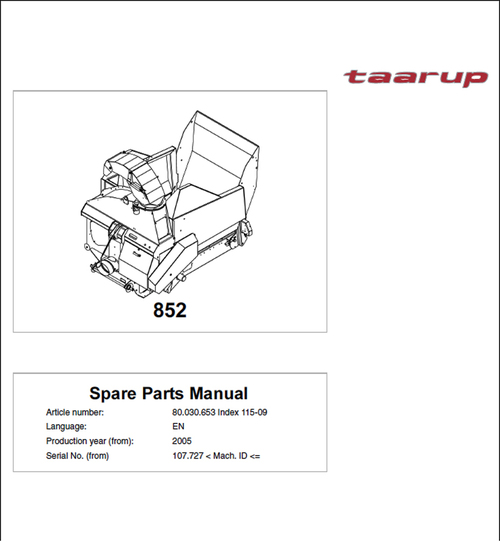 Pay for Taarup KD852 Spare Parts Manual for Feeding