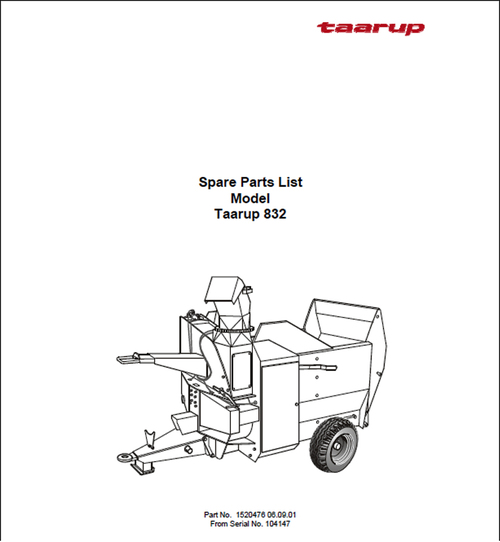 Pay for Taarup KD832 Spare Parts Manual for Feeding