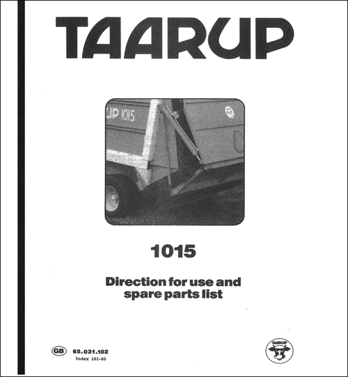 Pay for Taarup 1015 Spare Parts Manual for Loader Wagon