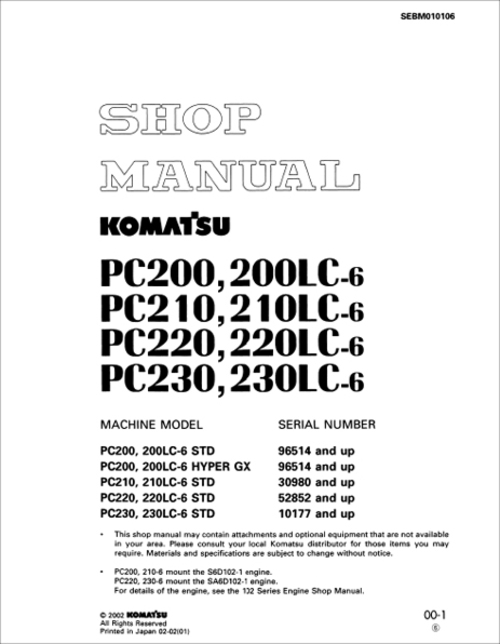 Pay for Komatsu PC220 220LC-6 STD Service Manual Serial 52852 and up