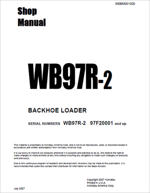 Pay for Komatsu WB97R-2 Service Manual for Backhoe Loader Serial 97F