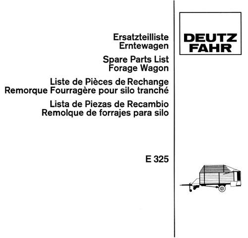 Pay for Deutz Fahr E325 Spare Parts Catalog