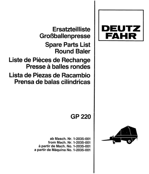 Pay for Deutz Fahr GP220 Spare Parts Catalog Manual for Round Baler