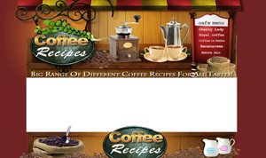 Thumbnail Coffee Recipes PSD Minisite HTML Graphics Ready Made Web Template