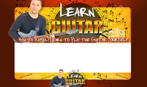 Thumbnail Learn Guitar PSD Minisite HTML Graphics Ready Made Web Template