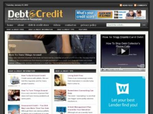 Pay for Debt Credit Niche Blog w/ PLR