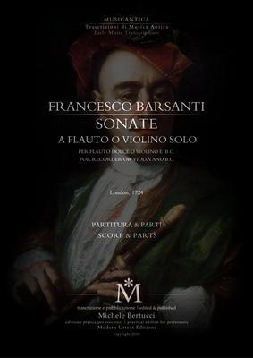 Pay for Francesco Barsanti - Sonate a flauto o violino solo e basso