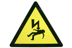 Thumbnail electric warning sign