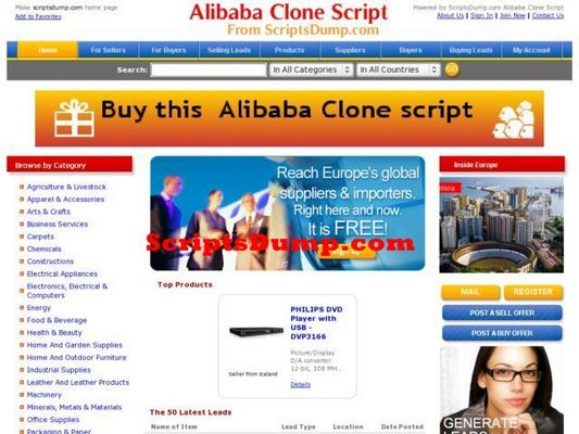 Pay for Alibaba Clone PhpScript b2b