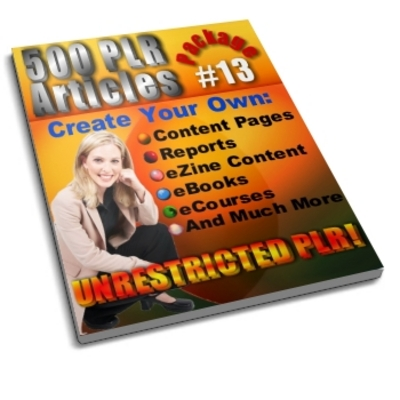 Pay for 500 Unrestricted PLR Articles Package 13