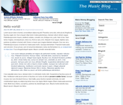 Pay for Wordpress music related Blog Template/Theme