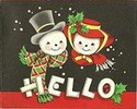 Thumbnail Vintage 1950 s Christmas Card 1 - Hello Mr. & Mrs. Snowman