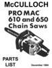 Thumbnail McCulloch 610 & 650 Chain Saw Owners, Service, Parts Package