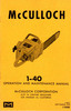 Thumbnail McCulloch 1-40 Chain Saw Owners - Operators Manual