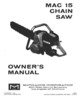 Thumbnail McCulloch MAC-15 Chain Saw Owners & Operators Manual