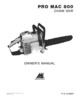 Thumbnail McCulloch PRO MAC 800 Chain Saw Owners & Operators Manual