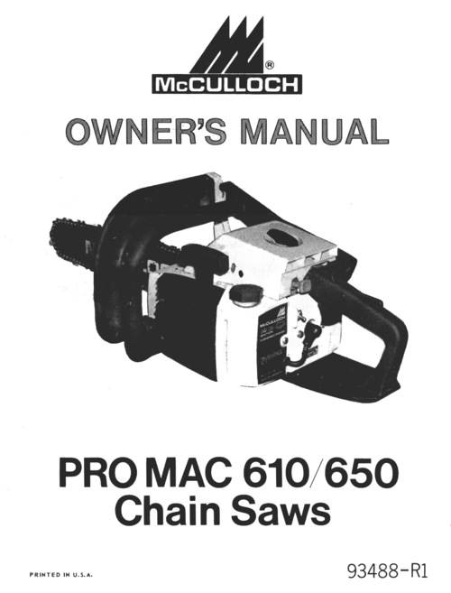 mcculloch pro mac 610 manual download