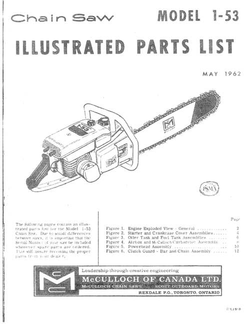 Mcculloch Chainsaw Parts >> Mcculloch 1 53 Chain Saw Parts List 2 Manuals 42 Pages Downlo