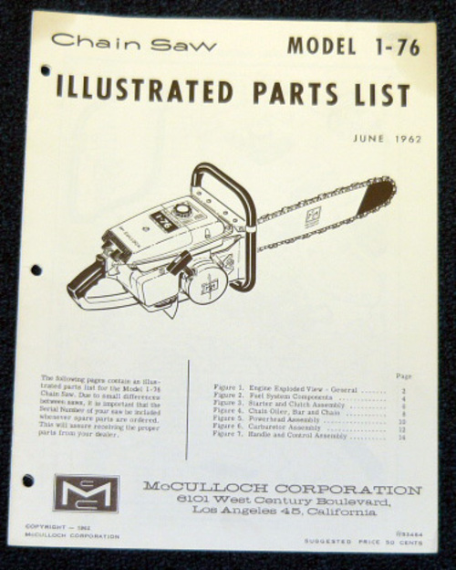 Free McCulloch 1-51 Chain Saw Parts List (2 Manuals
