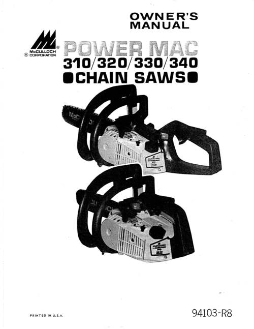 mcculloch power mac 310  320  330  340 owners manual download man Chainsaw MXC McCulloch 1840Dk mcculloch pro mac 610 chainsaw owners manual