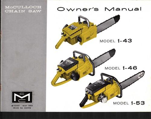 mcculloch 1 53 chain saw owners operators manual download manu rh tradebit com mcculloch chainsaw manual 1987 mcculloch chainsaw manuals free