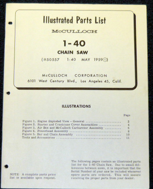 Pay for McCulloch 1-40 Chain Saw Parts List - IPL