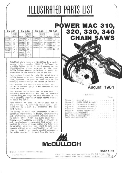Pay for McCulloch Power Mac 310, 320, 330, 340 Owners, Repair, Parts
