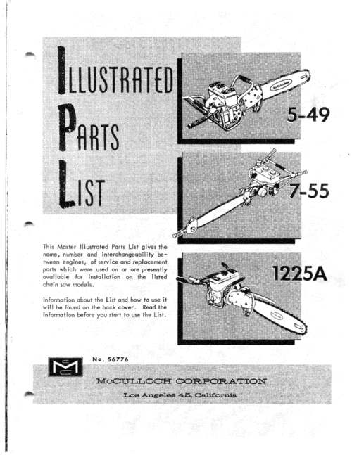 Pay for McCulloch 7-55 Chain Saw Illustrated Parts List.