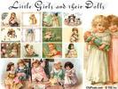Thumbnail 12 Vintage Clip Art Illustrations of Little Girls & Dolls